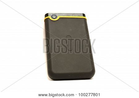 External hard drive on white background