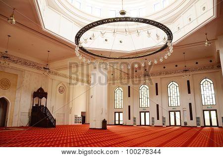 Interior of Tengku Ampuan Jemaah Mosque in Selangor, Malaysia