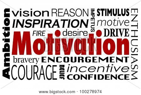 Motivaiton word collage with related terms like inspiration, encouragement, drive, abmbition, enthusiasm, confidence and vision