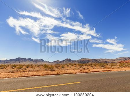 Endless Road And Beautiful Cloudscape, Travel Concept, Usa.