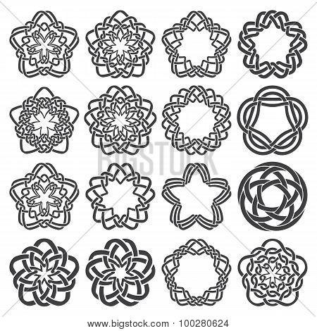 Sixteen pentagonal decorative elements with stripes braiding