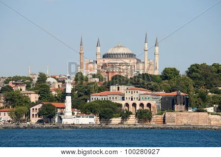 Hagia Sophia And Istanbul, View From Bosphorus Strait. Turkey