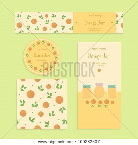 Homemade orange jam set