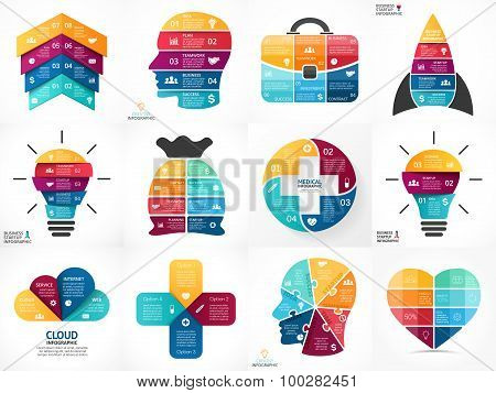 Vector circle infographics. Business diagrams, arrows graphs, linear presentations, idea cycle charts. Data options, parts, 3, 4, 5, 6, 8  steps. Bulb, brain, head, plus, eco, heart, lines, stairs, medical plus.