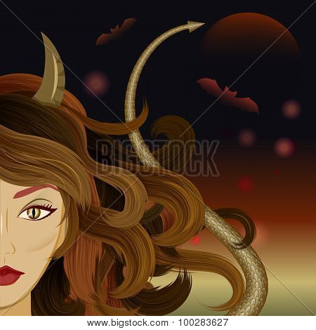 Halloween witch devil agains gloomy background