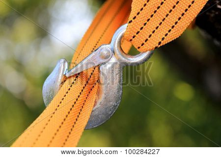 Yellow strap and steel hook