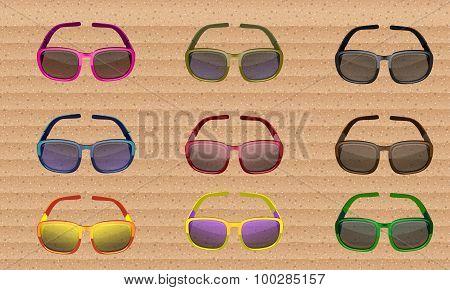 Sunglasses Colored Set. Vector