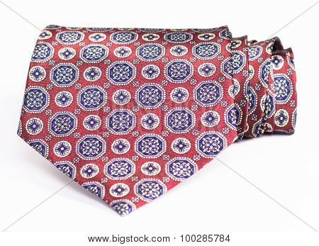 silk necktie roll  isolated on white background