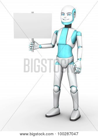 Toon Robot Boy Holding Blank Sign.