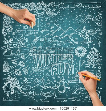 Idea winter fun background sketch and human hand with pencil