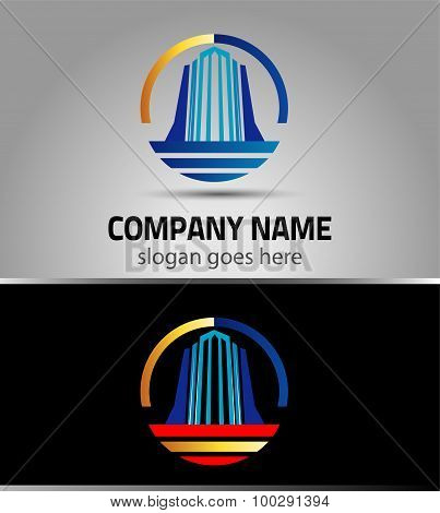 Skyscraper logo real estate business icon