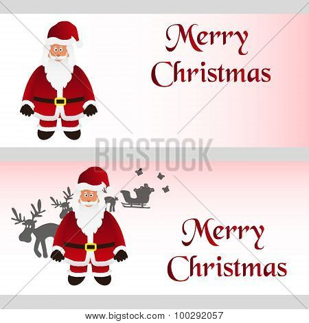 Mery Christmas With Cartoon Santa Claus Greeting Cards Eps10