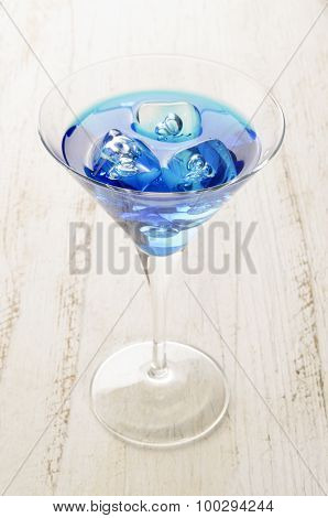 Blue Curacao Cocktail With Ice Cube