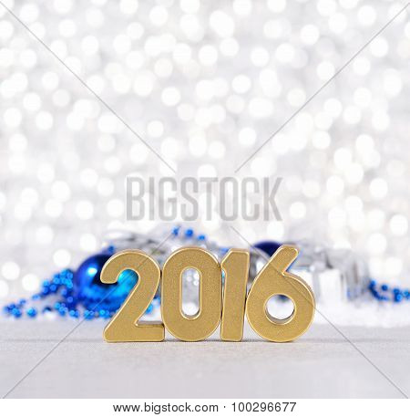 2016 Year Golden Figures And Silvery And Blue Christmas Decorations