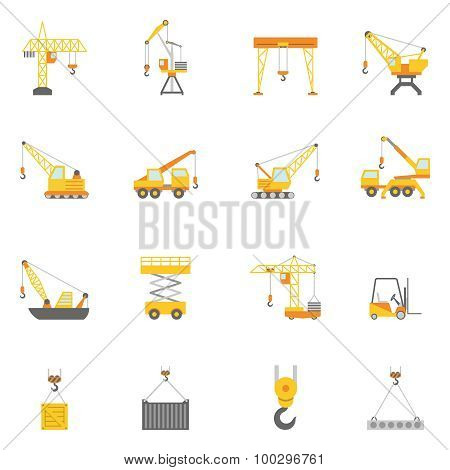 Building construction crane flat icons set