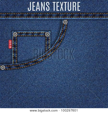 jeans blue texture material with pocket denim background