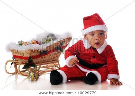 Baby Santa With Sleigh