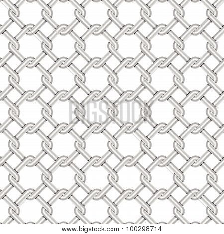 Steel Wire Weave Texture With White Background, Vector Illustration