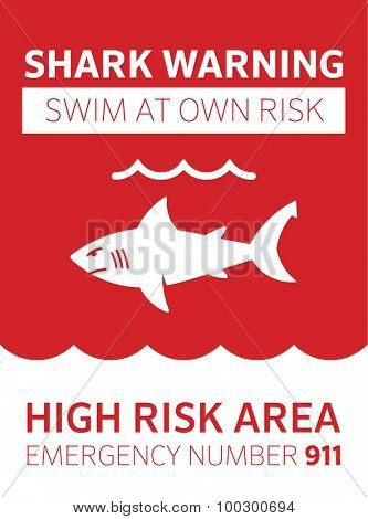 Shark area warning sign red. Swim at your own risk