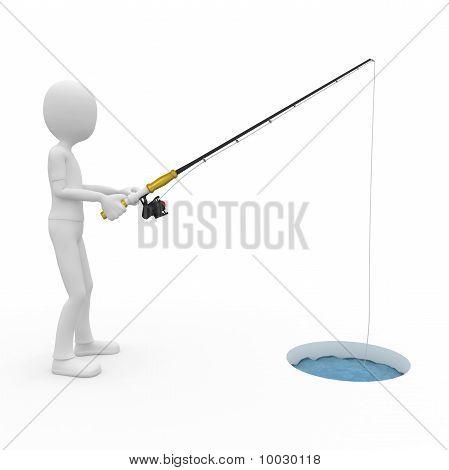 3D Man Ice Fishing