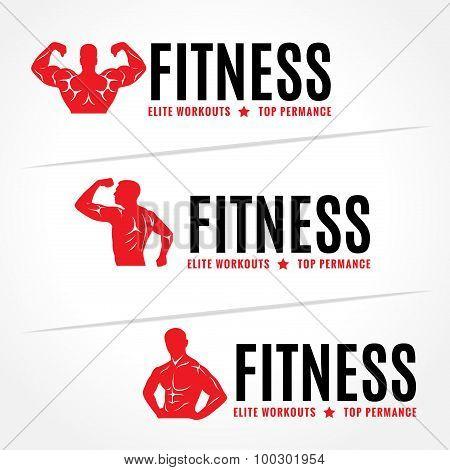 Red Body Men's muscle strength - fitness logo vector design