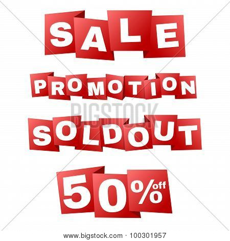 Sale and promotion and sold out on Red banner tag zigzag fold vector design