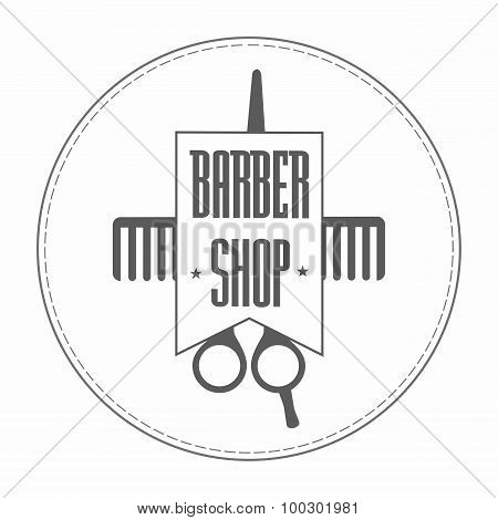 Retro Vintage Insignia Barbershop Logo In Gray Color. In It Hairdressing Scissors And Comb Wrapped I