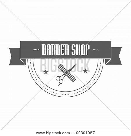 Fictional Barbershop Logo. Vector Illustration.