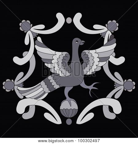 Ornamental Vector Illustration Of Mythological Bird. Gray Fairy Bird On The Black Background. Monoch