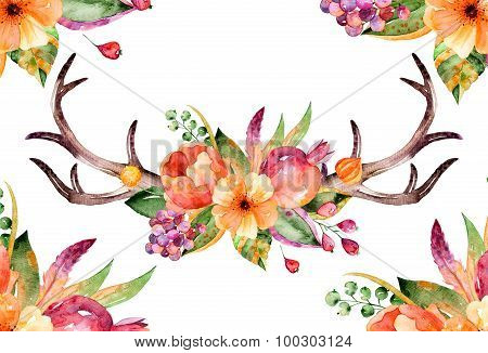 Colorful floral bouquet with leaves, horns and flowers, drawing watercolor. Autumn or summer design