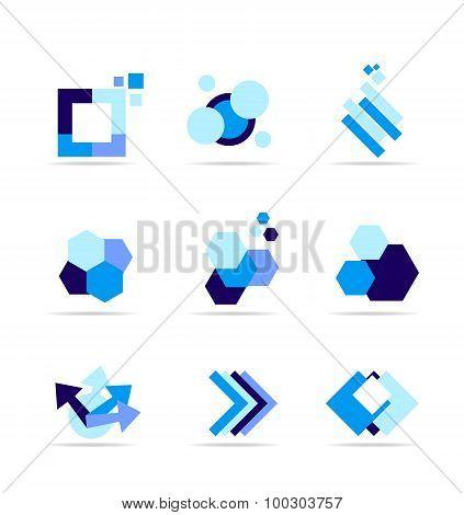Blue Shape Logo Icon Set