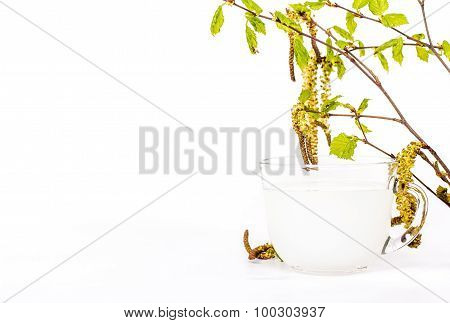 A transparent cup of birch sap decorated with beautiful birch leaves