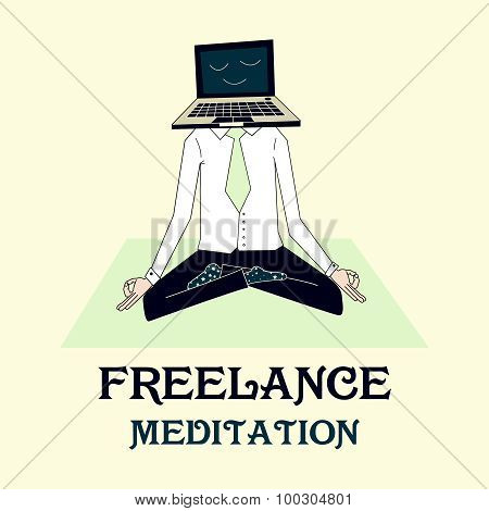 illustration of meditating freelancer working