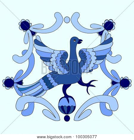 Ornamental Vector Illustration Of Mythological Bird. Blue Template. Gzhel Style. Folkloric Motive.