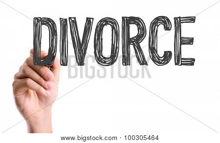 Hand with marker writing the word Divorce