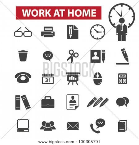 Work at home concept icons: office,   job,  business, freelance, freelancer work from home,  self employed,  home office,  website,  job,  work at home,  freedom. Vector illustration