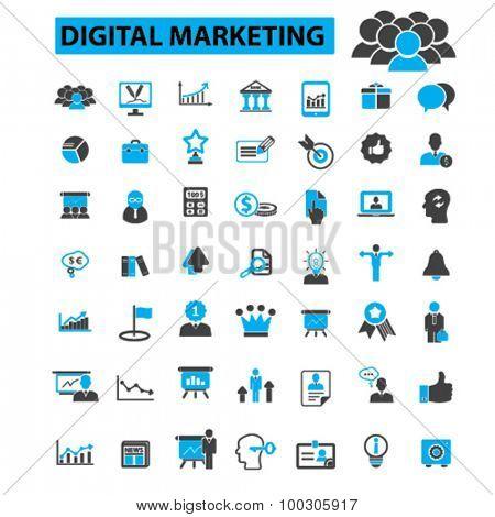 Digital marketing concept icons: online marketing,  social media,  digital media,  internet marketing,  seo, web design,  internet business, online business. Vector illustration