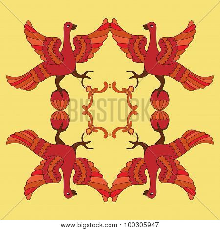 Ornamental Vector Illustration Of Mythological Birds. Red Phoenix Birds On The Yellow Background.