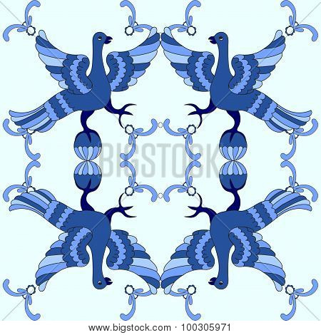 Ornamental Vector Seamless Pattern With Mythological Birds. Blue Template. Gzhel Style.