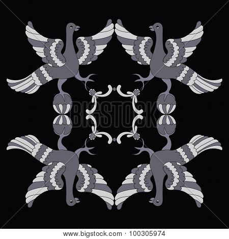 Ornamental Vector Illustration Of Mythological Birds. Gray Birds On The Black Background. Monochrome