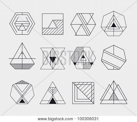 Set of retro line abstract hipster monochrome geometric badge logo, icon