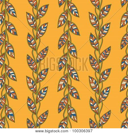 Seamless pattern with stylized flat ornamental leaves.