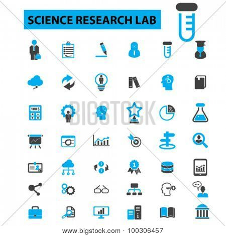 Science research lab concept icons: scientist,  scientific, science background,  chemistry, science laboratory, education, learning, presentation, scientific research. Vector illustration