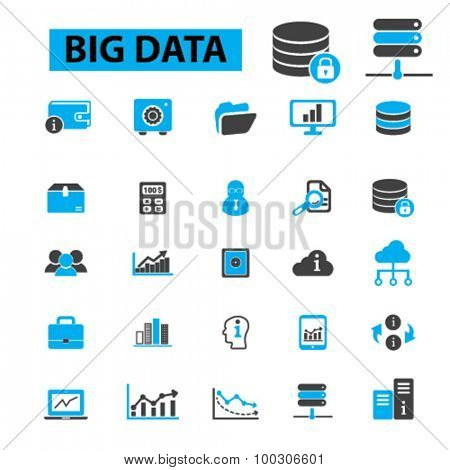 Big data concept icons: database, data analysis,  data storage, cloud computing, program coding, information development. Vector illustration