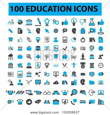100 education icons: learning, study, science, lesson, school, research. Vector illustration.