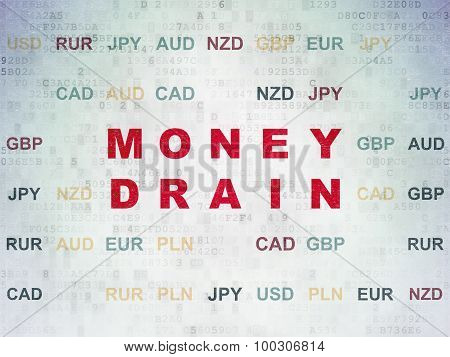 Banking concept: Money Drain on Digital Paper background