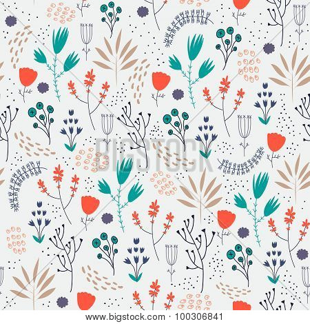 Vector seamless floral pattern. Romantic cute background with hand drawn flowers.