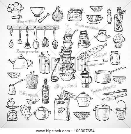 Big set of kitchen sketch utensils on white