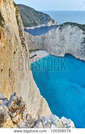 Amazing Panorama of Navagio Shipwreck beach