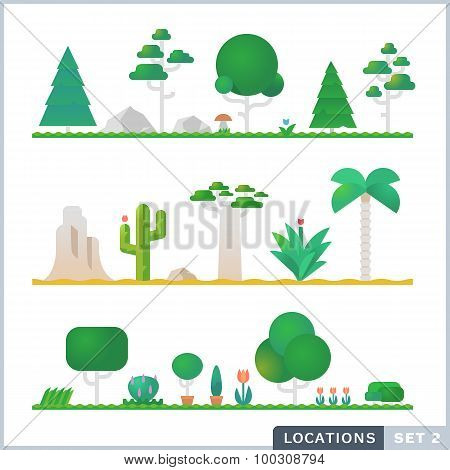 Set Of Trees, Rocks, Bushes And Grass. Vector Flat Illustrations